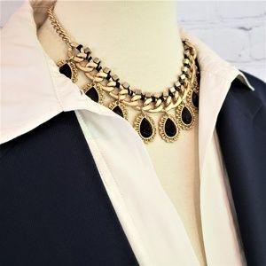 NWT Gold & Black Teardrop Statement Necklace